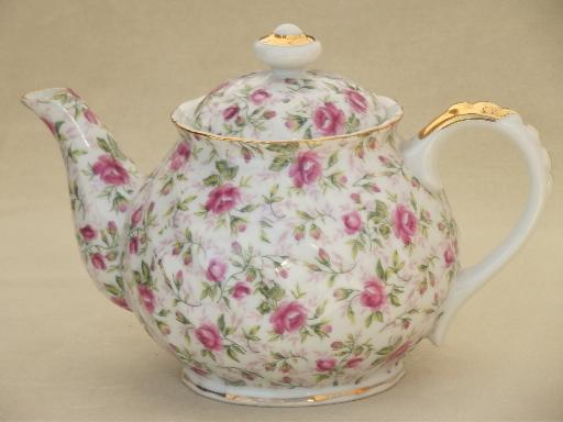 Vintage Lefton Rose Chintz China Teapot Large Round Tea Pot
