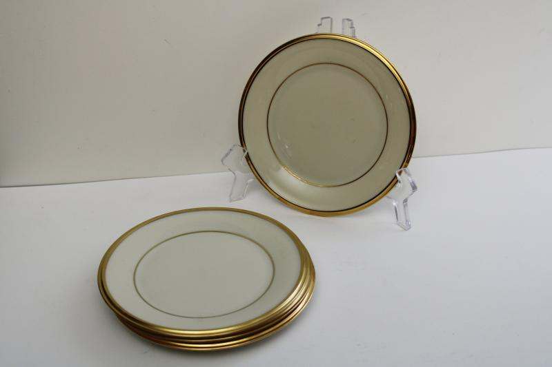 vintage Lenox Eternal bread & butter plates, ivory china plain gold bands