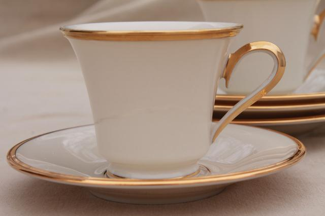 vintage Lenox Eternal gold band ivory china cups & saucers, mint condition