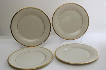 vintage Lenox Eternal set of 4 dinner plates, wedding band ivory china w/ gold trim