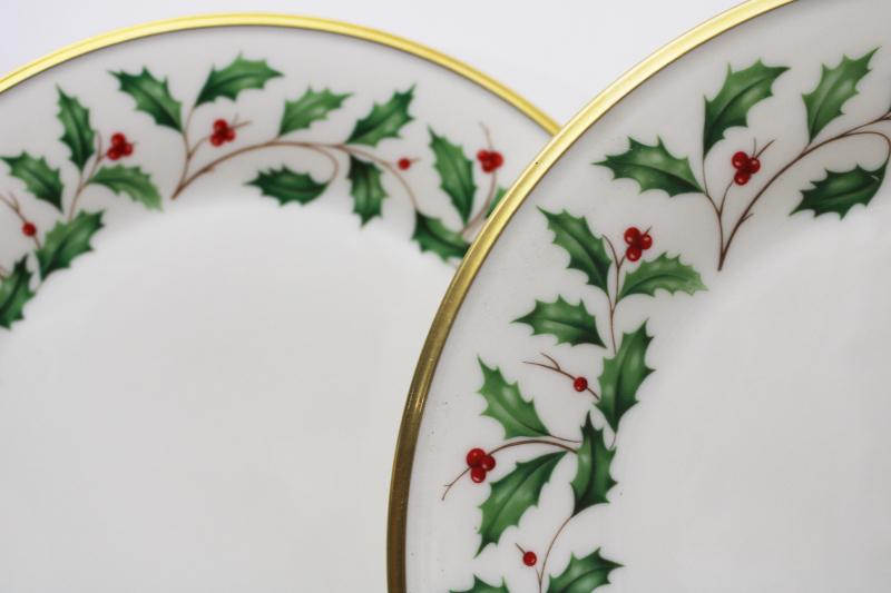 vintage Lenox china Christmas holiday pattern dinner plates, holly border w/ gold
