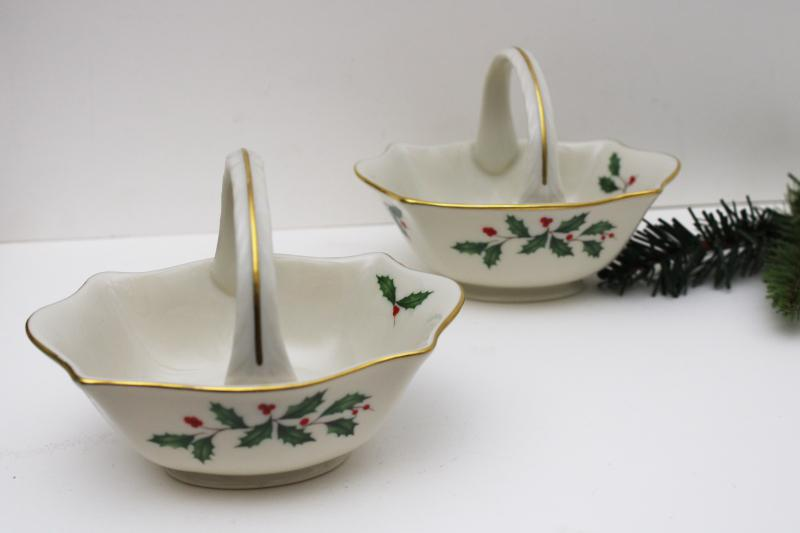 vintage Lenox china Christmas holly holiday pattern basket shaped candy dishes