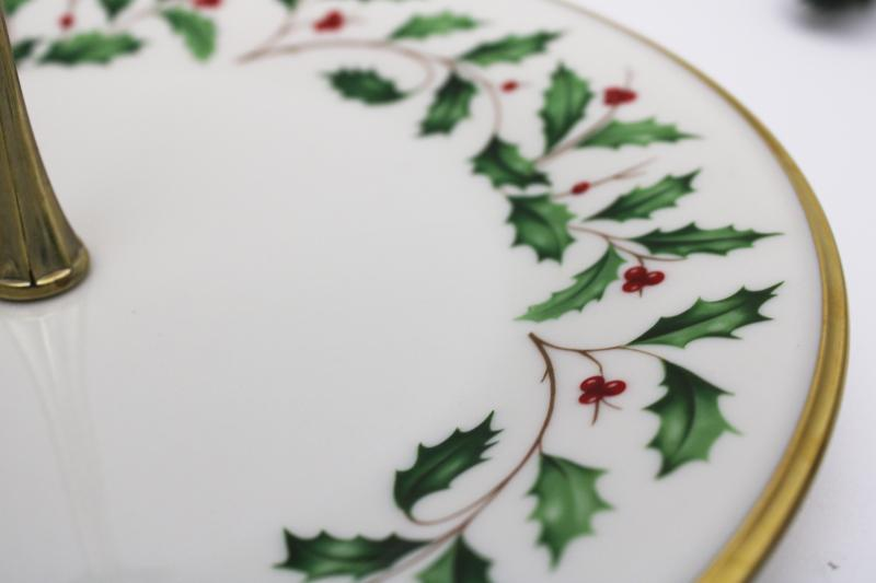 vintage Lenox china Christmas holly holiday sandwich plate w/ center handle