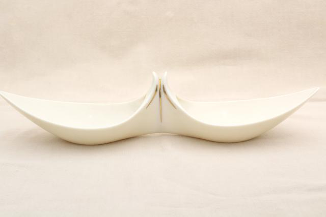 vintage Lenox china dish, old ivory / gold giftware, handkerchief shape double bowl