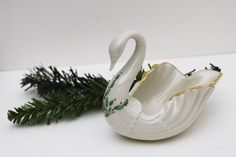 vintage Lenox china swan, Christmas green & red holly holiday pattern
