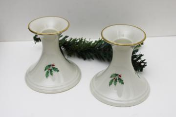 vintage Lenox holiday holly china, pair of candlesticks, taper candle holders