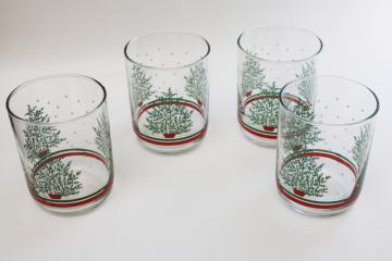 vintage Libbey Christmas drinking glasses pine or fir trees, double old fashioned lowballs
