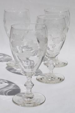 vintage Libbey / Rock Sharpe Georgian water glasses, wheel / grey cut glass goblets