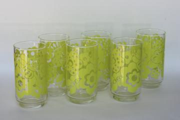 vintage Libbey drinking glasses, flower power lime green daisies print tumblers
