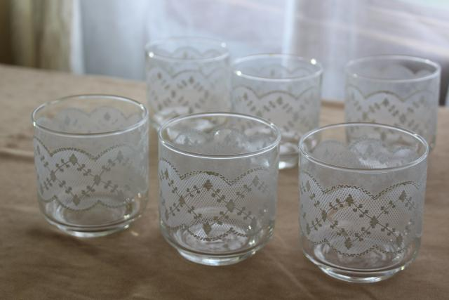 vintage Libbey drinking glasses, white lace pattern on the rocks lowball tumblers