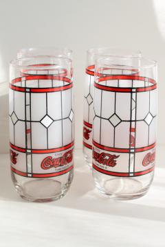 vintage Libbey glass Coke glasses, Coca-Cola window pattern advertising
