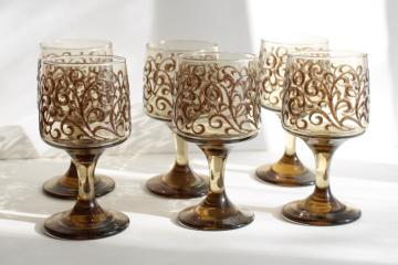 vintage Libbey tawny smoke glass wine glasses, Impromptu Prado brown scrolls