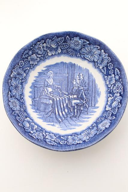 vintage Liberty blue & white transferware china, Betsy Ross American flag bowls