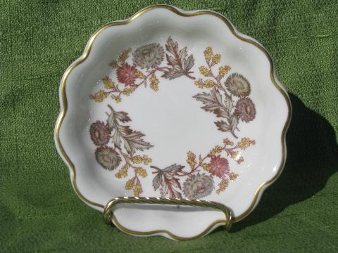 vintage Lichfield fall flowers Wedgwood china nut bowl, fluted shape