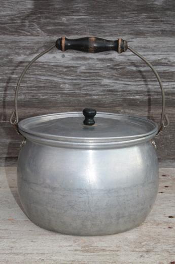 Vintage Lifetime Aluminum Kettle W Wood Handle Wire Bail