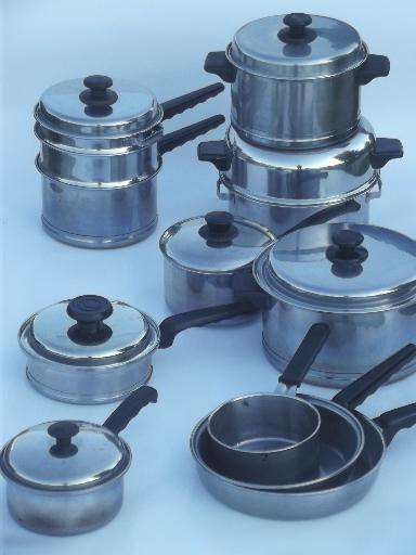 vintage Lifetime stainless pots & pans lot, egg poacher ...