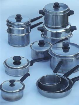 vintage Lifetime stainless pots & pans lot, egg poacher, double boiler