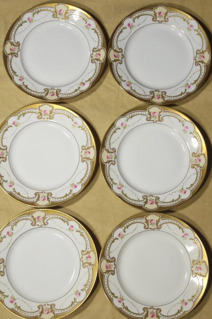 vintage Limoges B & Co french porcelain china dessert plates, hand painted floral w/ gold