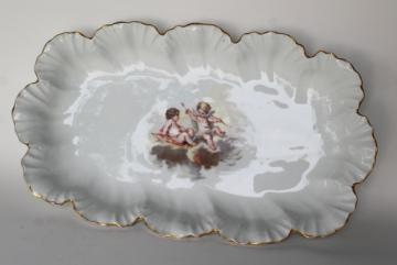 vintage Limoges France Lanternier tray w/ oyster scalloped border, cherubs