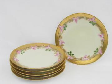 vintage Limoges french china dessert plates, handpainted roses & gold