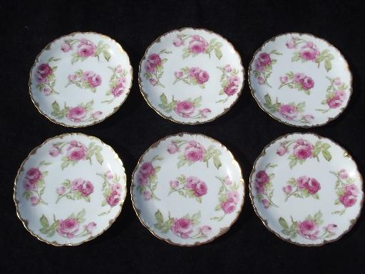 & vintage Limoges french porcelain plates w/ roses P u0026 B Elite France