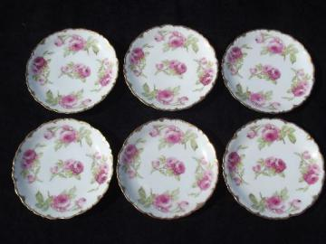vintage Limoges french porcelain plates w/ roses, P & B Elite France