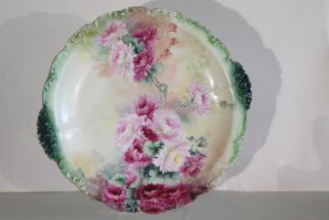 vintage Limoges tray or charger plate w/ hand painted flowers, Jean Pouyat - France