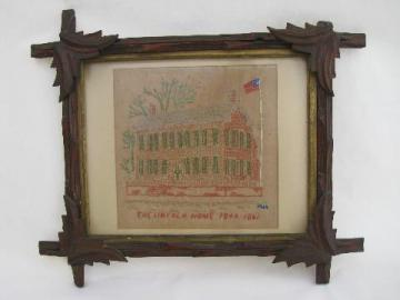 vintage Lincoln's home needlework sampler in rustic antique adirondack frame