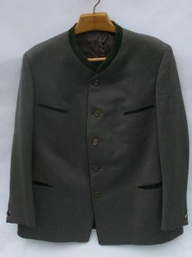 vintage Lodenfrey men's grey/ green loden wool jacket, antler buttons
