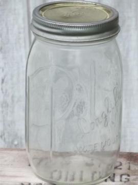 vintage LongLife widemouth canning jar, Long Life glass mason jar