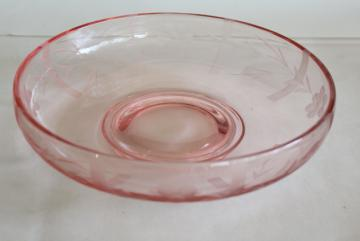 vintage Lotus glass blush pink depression glass console bowl, bars & flowers etch cut