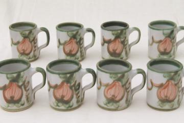 vintage Louisville stoneware pottery Harvest fruit coffee mugs, John B Taylor ceramics