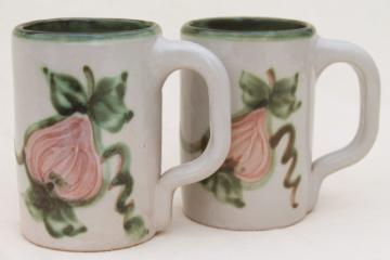 vintage Louisville stoneware pottery Harvest fruit large mugs, John B Taylor ceramics