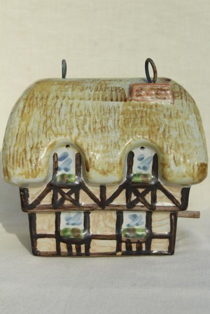 vintage Louisville stoneware pottery birdhouse, English Tudor cottage thatched roof