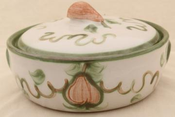 vintage Louisville stoneware pottery casserole, John B Taylor Harvest pattern