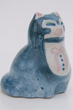 vintage M A Hadley Louisville stoneware pottery cat, hand-painted sitting pretty kitty
