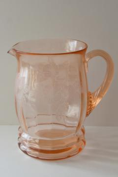vintage MacBeth Evans dogwood pattern pink depression glass pitcher ribbed handle