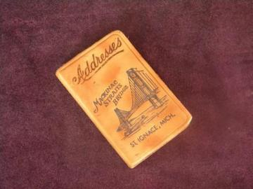 vintage Mackinac Straits Bridge address book St Igance, Michigan