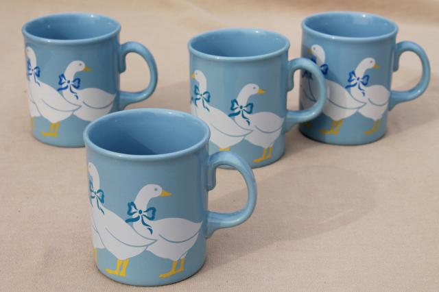 vintage Made in England pottery mugs, country geese on blue coffee cups set