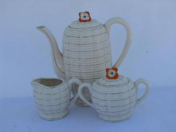 vintage Made in Japan china tea or coffee set, teapot, cream pitcher & sugar