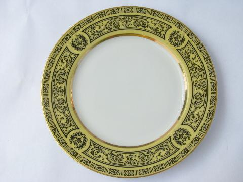 vintage Made in Japan fine china, 8 Golden Damask bread & butter plates