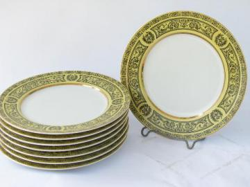 vintage Made in Japan fine china, 8 Golden Damask bread & butter plates