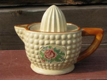 vintage Made in Japan kitchenware, ceramic lemon reamer and juicer pitcher