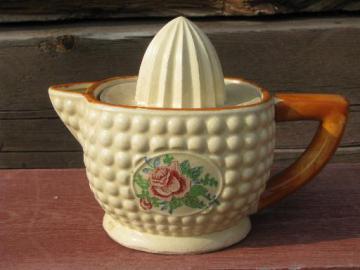 vintage Made in Japan kitchenware, ceramic lemon reamer and juicer pitcher
