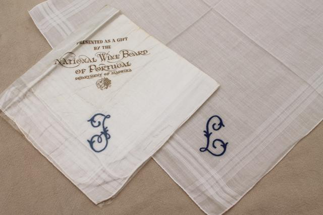 vintage Madeira hand embroidered cotton hankies, J & L monogram handkerchiefs