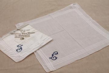 vintage Madeira hand embroidered cotton hankies, J & L monogram handkerchiefs