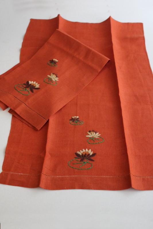 vintage Madeira hand embroidered linen guest towels w/ hemstitching, pretty fall colors