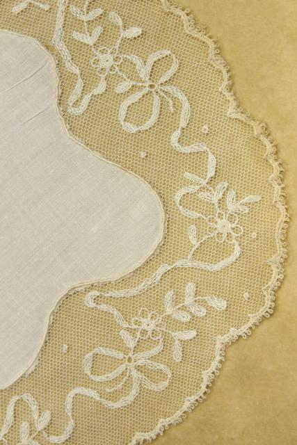 vintage Madeira lace goblet rounds, embroidered linen doily table mats set of 12