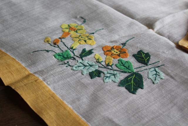 vintage Madeira linen tea table cloth & napkins, hand stitched embroidery & applique flowers