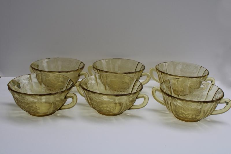 vintage Madrid pattern yellow depression glass bowls, cream soup double handle cups